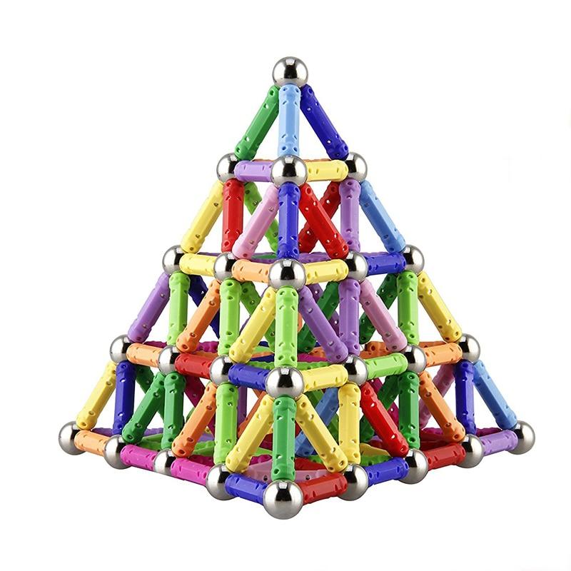 150pcs Magnet Toy Sticks & Metal Balls Magnetic Building Blocks Construction Toys For Children DIY Educational Toys For Kids|Magnetic| |  - title=