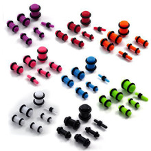 Mix Lot Wholesale 12Pcs/lot Acrylic Ear Plugs And Tunnels Sizes Expander Stretchers Tragus Piercing Kit Body Jewlery
