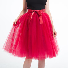 5 Layer 65cm Knee Length Tulle Skirt Elegant Pleated Tutu Skirts Womens Vintage Lolita Petticoat faldas mujer Saia Jupe(China)