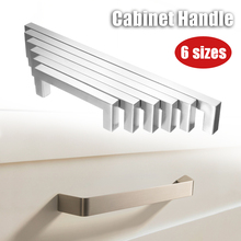 1Pcs Silver Kitchen Cabinet Handles ModernDoor Knobs Stainless Steel Square Closet Drawer Cupboard Pulls Bathroom Cabinet 6Sizes