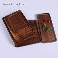 Квадратный черный из орехового дерева, прямоугольный деревянный поднос, высококачественное твердое деревянное блюдо для пиццы, фруктовые ...