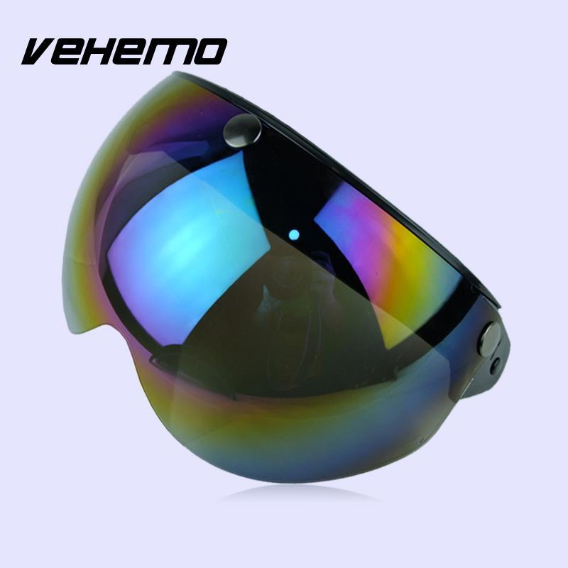 Vehemo Motorcycle Helmet Lens Three Buckles Motorbike Outdoor Sport 3/4Helmet Lenses