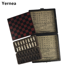 Yernea New Chess Set Wooden Coffee Table Antique Miniature Board Pieces Move Box Retro Style lifelike Game