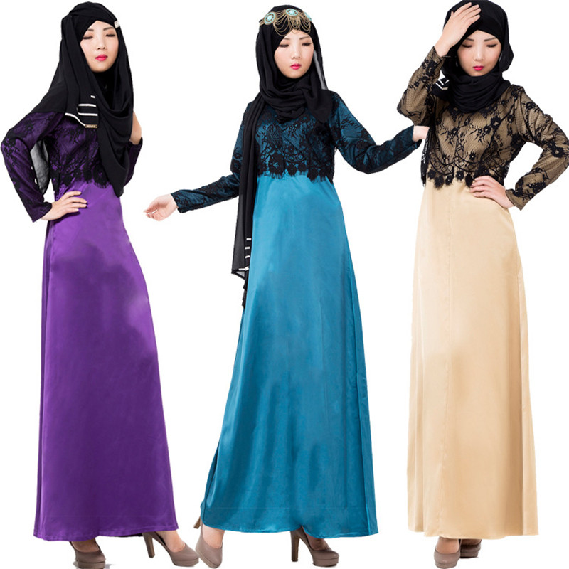 2016 Fashion New Lace Satin Thick Muslim Dress Wholesale Turkish Islamic Clothing Abayas For