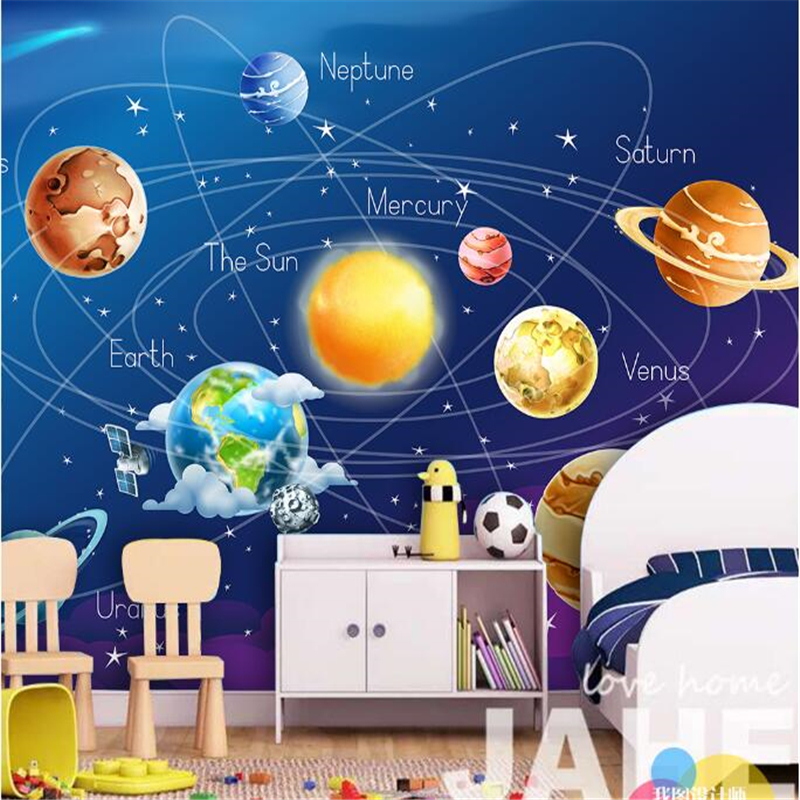 Beibehang wallpaper for space star cartoon solar earth for What size tv do i need for a 12x15 room