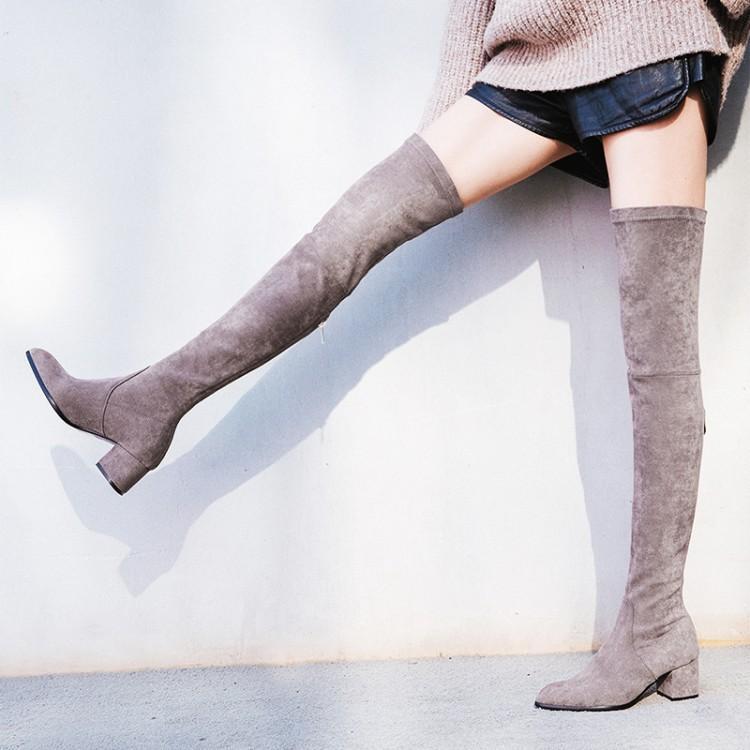 as Genou Femme Show Cuisse Mince Up Show D'hiver Lace Sur Femmes Botas Suede Le Talons As Haute Bottes Chaussures Aux Sexy 2018 wfOXqcRX