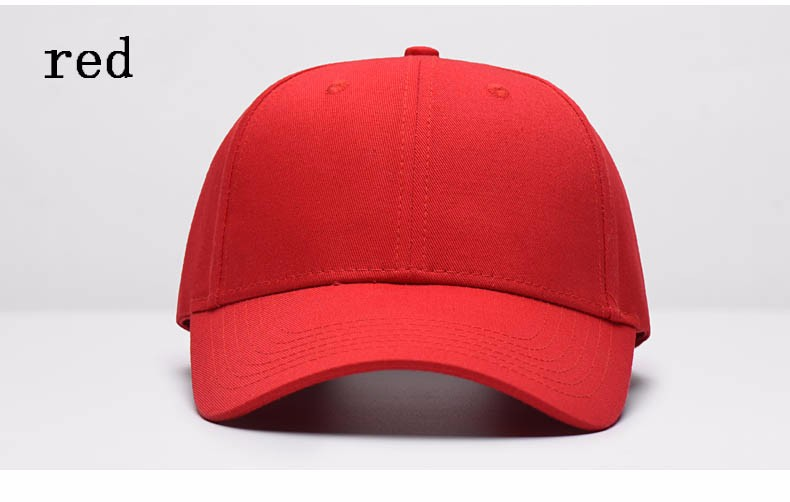 Solid Color Adjustable Baseball Cap - Red Cap Front Angle View