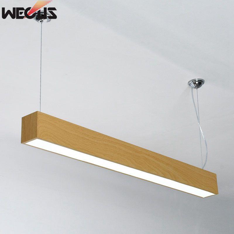 цена на Imitation wood grain LED long office hanging line lamp, pendant lamp
