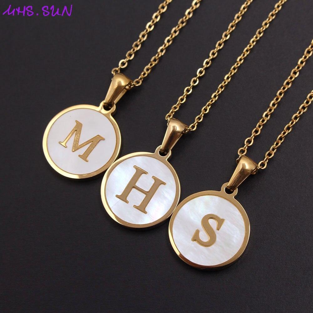 MHS.SUN Fashion 26 Letters Pendant Necklace Women Girls Alphabet Titanium Steel Chain Necklace Shell Jewelry Simple Design 1Pcs
