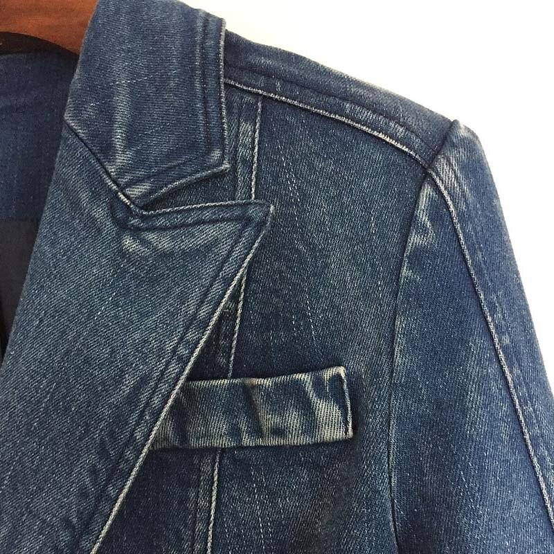 Lion Bleu Denim Designer Jeans En Métal Vestes Manteau Vêtements Double Mode Piste Veste 2018 Automne Hiver Boutons Femmes TPXZkOiu