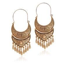 95bbdc236a35 Clásico Moon sliver oro antiguo encanto cuelgan declaración color plata  joyería gitana pendientes Etnicos para las mujeres