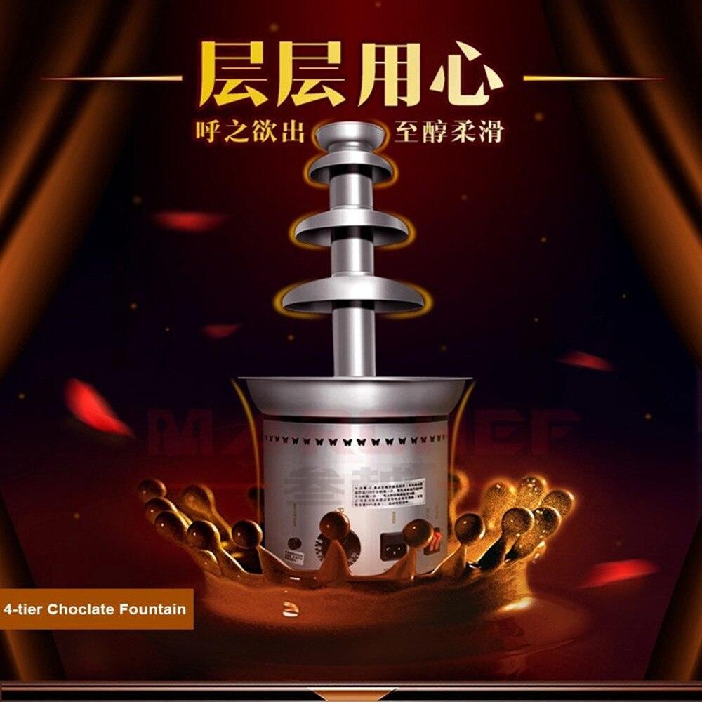 High Quality Stainless Steel 4 Tiers Mini Home Chocolate Fondue Fountain Machine Chocolate Tree For Wedding Children Birthday ZF