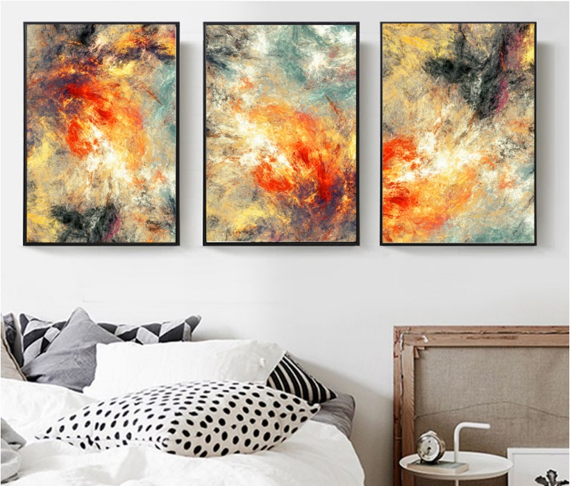 100% handmade Modern abstraction 3 Pieces Canvas Paintings Modular Pictures Wall Art Canvas  1