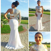 One Shoulder Crystal Prom Dresses Long White Special Mermaid Prom Dress vestido de formatura Middle East Saudi Arabia Prom Dress