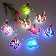 어린이위한 3d 나비 밤 빛 아기 아이 흡입 패드 다채로운 장 나비 led 밤 빛 램프 웨딩 파티 장식