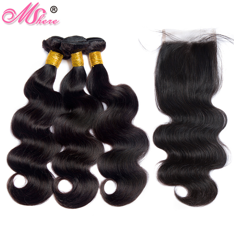 Mshere Hair Peruvian Hair Body Wave Human Hair Bundles With Lace Closure Nature Black Pre Plucked