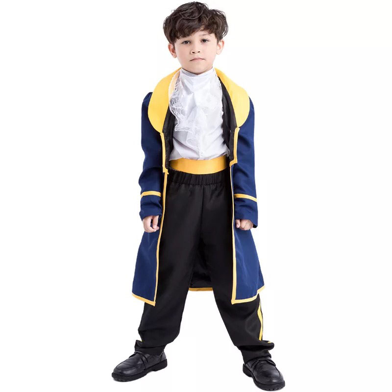 Child Boys Halloween Victorian King Prince Costume Beauty Beast Vintage Court Jacket Shirt Pants Set Cool Outfit For Baby Kid