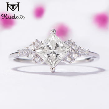 7af1661380f6 Kuololit 14 K oro blanco anillo anillos para las mujeres laboratorio  crecido corte cuadrado diamante magnífico de compromiso de boda de joyería  fina