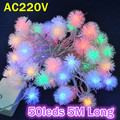 NEW 10pcs/lot Christmas Tree Decorative Lighting AC220V RGB Color 10M Long 50leds LED String Light Bulbs With Controller