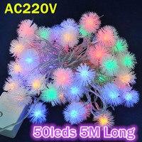 2014 NEW 10pcs Lot Christmas Tree Decorative Lighting AC220V RGB Color 5M Long 50leds LED String