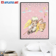 Little Angel Canvas Painting Nordic Posters And Prints Wall Art Cartoon Pictures Kids Room Baby Decor