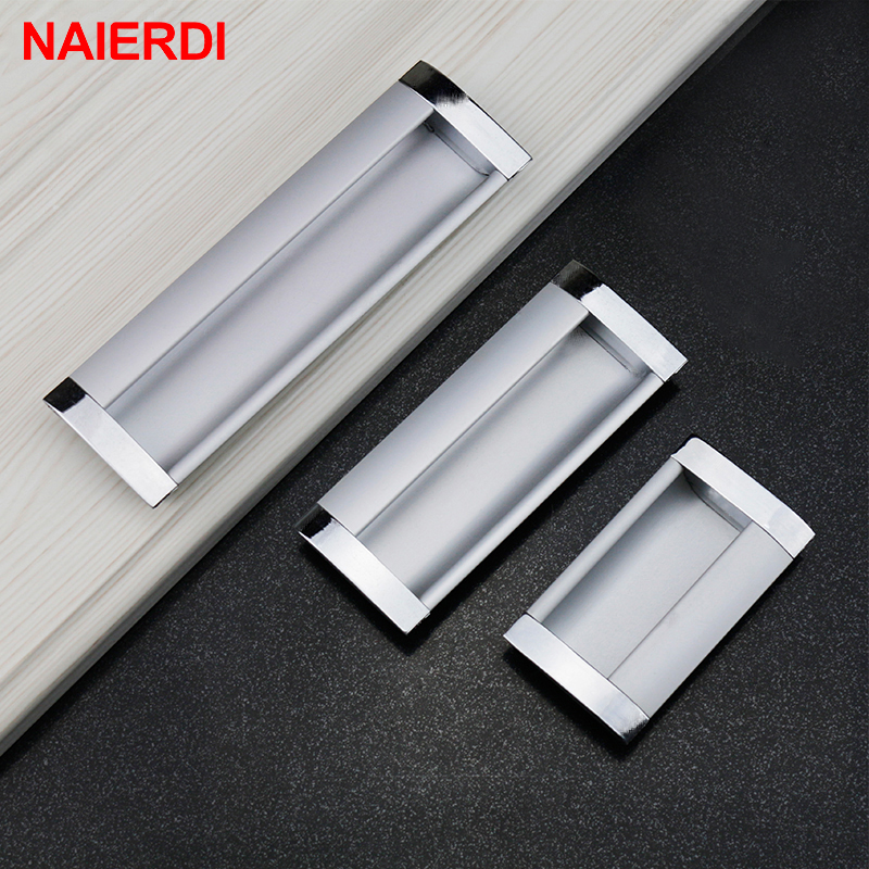 5PCS NAIERDI Aluminum Alloy Handles Modern Embed Knobs Kitchen Cabinet Cupboard Door Drawer Handle Wardrobe Hidden Pull Hardware high quality 1pc concise door handle gold hardware kitchen cupboard cabinet handles wardrobe handle drawer pull 96mm 128mm