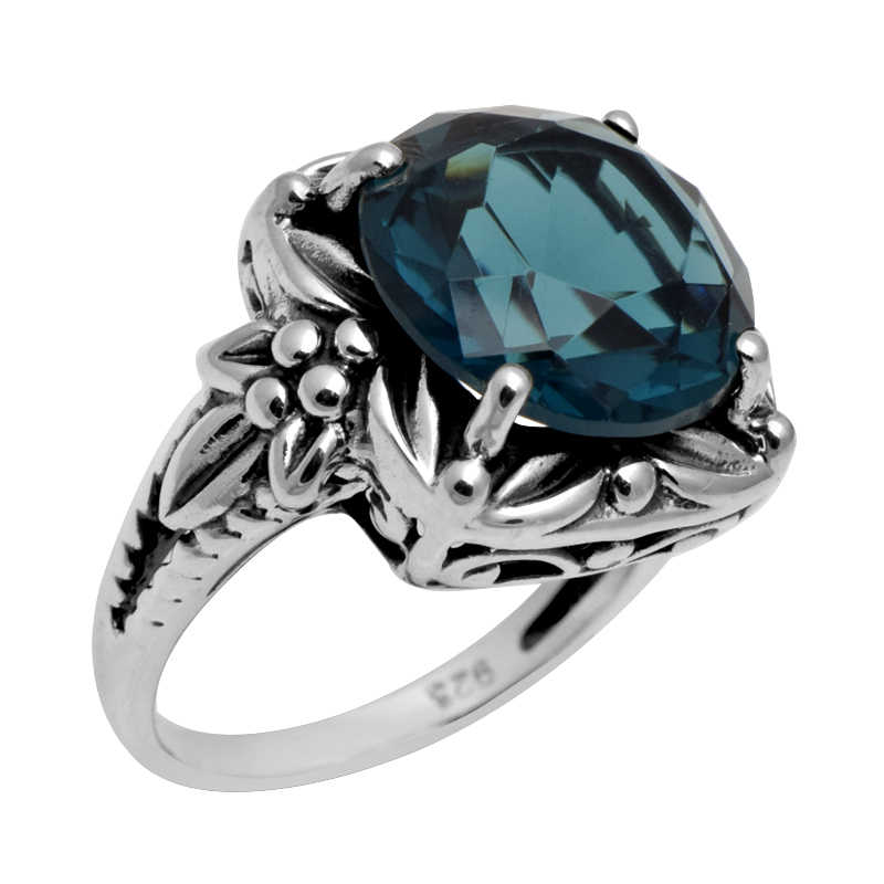 Szjinao โรงงานเงินแฟชั่นเครื่องประดับโบราณขายส่งแหวนค็อกเทล 4.5 ct Sapphire ผู้หญิง 925 แหวนเงินแท้