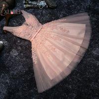 Elegant Vestido Short Prom Dresses 15 ano curto Pink Lace Homecoming Dresses 2019 Appliqued 8th Grade Graduation Dress