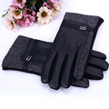 Winter Gloves  Men's PU Leather Cotton Mittens New Brand Touch Screen Gloves Fashion Warm Black Grey Goatskin Gloves & Mittens