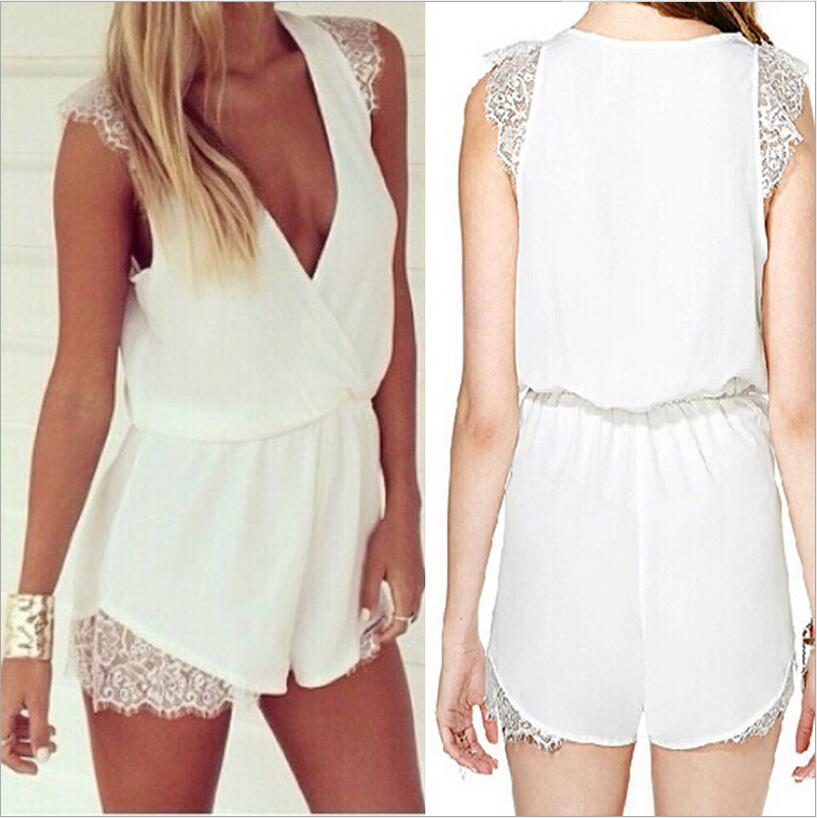 Europe Style Summer Fashion Lace Chiffon Jumpsuits Sexy Deep V Sleeveless Jumpsuit Women Shorts Rompers Chemise Femme BF466