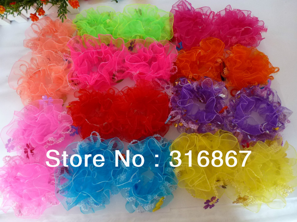20 Assorted Colors LACE HAIR SCRUNCHIE PONYTAIL ELASTIC SPORT DANCE SCHOOL парафин oneball 4wd warm assorted