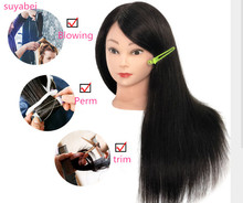 55-60CM Black 85% Real Human Hair Training Mannequin Head Curling Women Professional Hairdresser Practice