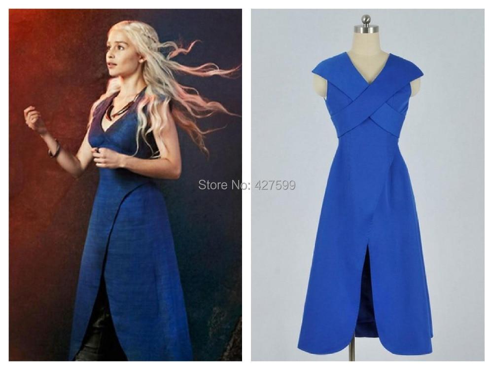 hot game of thrones daenerys targaryen khaleesi blue cosplay costume halloween costumes with free shipping - Blue Halloween Dress
