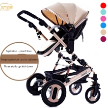 YIBAOLAI Aluminum alloy four-wheeled baby stroller High Landscape Portable Lightweight Baby Carriages Folding Baby Stroller
