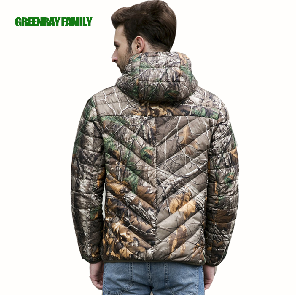 a31ea42b0431 Winter Camouflage Bionic Tree Print Men Hooded Jacket S 3XL White Duck Down  Coat Thin Ultra Light Warm Packable Parka Outerwear-in Down Jackets from  Men's ...