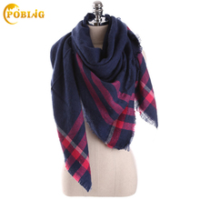 Za Brand Winter Scarf Women 2017 Tartan Plaid New Designer Unisex Acrylic Basic Shawl Wrap Female