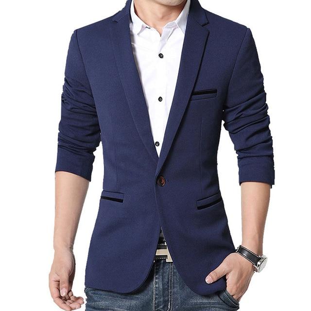 Brand Mens Casual Blazers Autumn Spring Fashion Slim Suit Jacket Men Blazer Masculino Clothing Vetement Homme M~5XL HF1415 5
