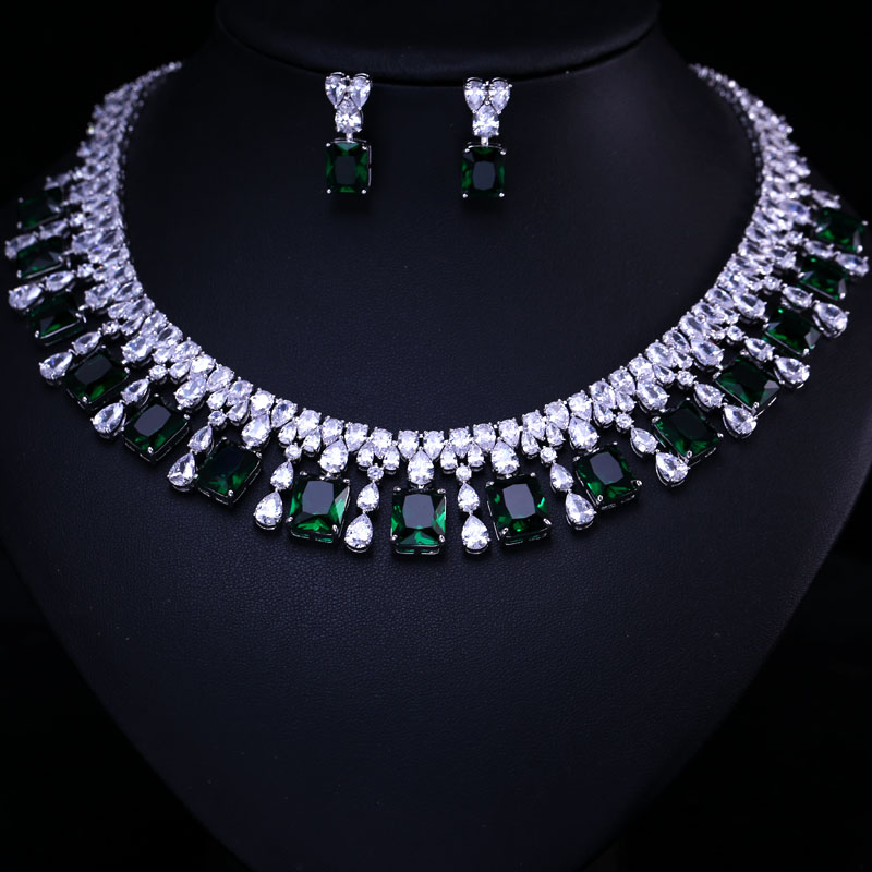 4 Color Select Luxury Better Cubic Zircon Clear Necklace Earrings