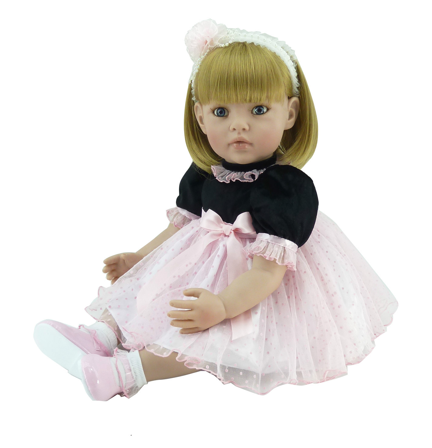 22inch Soft Silicone Reborn Baby Doll Toy Lifelike Girl Princess Doll Baby Play House Toys Birthday Christmas Gift Present soft silica gel doll 57cm reborn baby appease doll lifelike babies play play house toy for children s christmas birthday gift