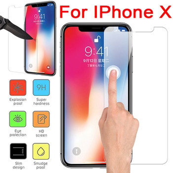 0.1mm Ultra-Thin 9H Tempered Glass Screen Protector On The For iPhone X 8 8 Plus 7 6 6s plus 5 5s 5c SE Protective Hard Film