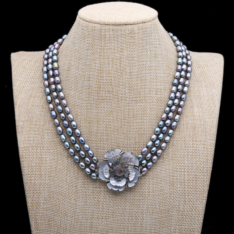 Hand knotted 3 rows black rice freshwater pearl necklace delicate shell carving flowers fashion jewelry