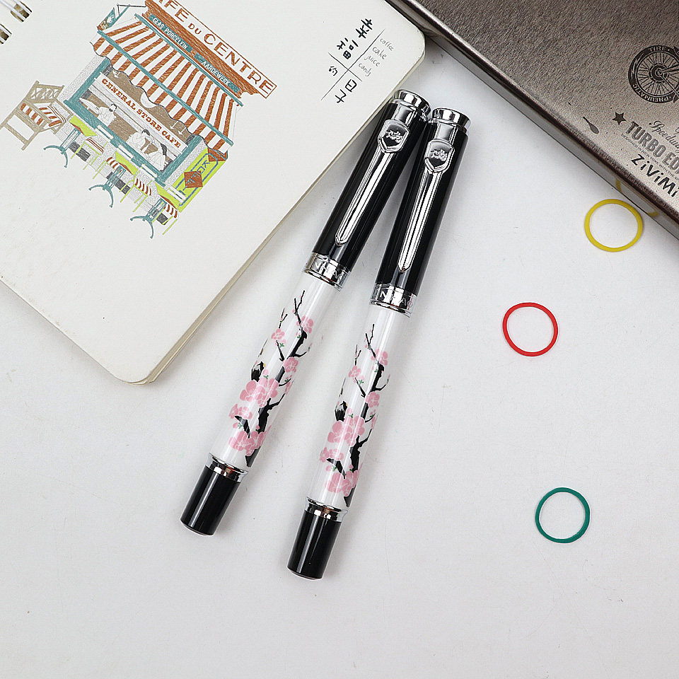 2Pen Luxury jinhao Metal+Ceramics Plum Flower Fountain Pens & Ballpoint Pens 0.7mm Blue & Black ink For Business Office Gift Pen latest design jinhao dragon and phoenix carving fountain pen stationery luxury metal writing gift art collection ink pens