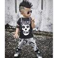Новые мальчики одежда ребенок одежда устанавливает дети с коротким рукавом скелет печати enfant повседневная дети милые наряды 2016 осень