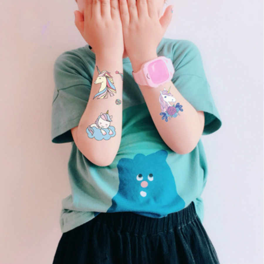 1 blatt Bunte Liebe Cartoon Einhorn Tattoo Temporäre Tattoo Nette Stern Tattoo Aufkleber Frauen Körper Finge Kunst Wasserdicht Tatoo Kid
