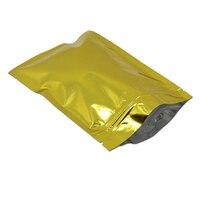 R eclosableทอง/โกลเด้นซิปล็อคถุงฟอยล์อลูมิเนียมชาอาหารขนมขบ