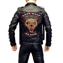 lone wolf no club large bear Embroidered punk biker Patches Clothes Stickers Apparel Accessories Badge