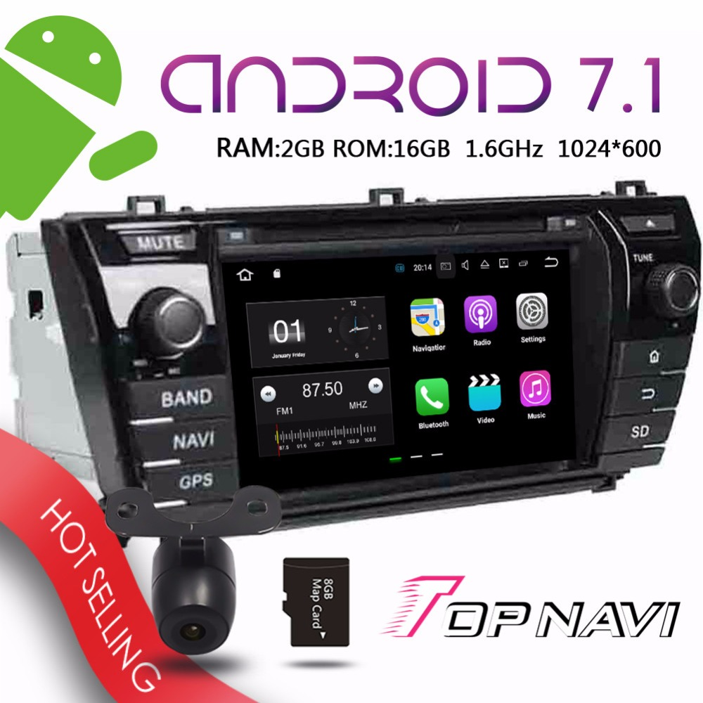 TOPNAVI 7 Android 7.1 Car Navigation for Toyota Corolla 2014 Auto DVD Stereo Buit-in tv-Box Wifi 2G RAM 16GB Media Players