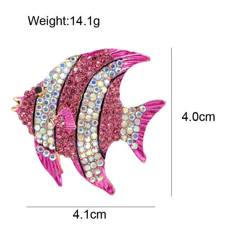 סינדי יאנג ריינסטון דגים טרופיים סיכות לנשים גדול חמוד בעלי החיים סיכת מסיבת מעיל תכשיטי אביזרי אופנה חדש 2018