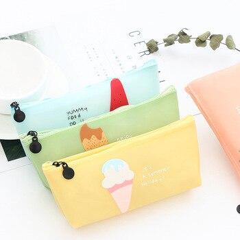 Big Creative Fruit Pencil Cases Etui Kawaii Silicone Pencil Box Cute Pen Case For Girls Bts Korean Stationery School Supplies Пенал