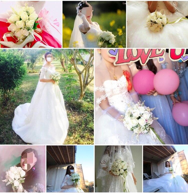 white pink silk flowers bridesmaids bridal Wedding Bouquets rose flowers (9)